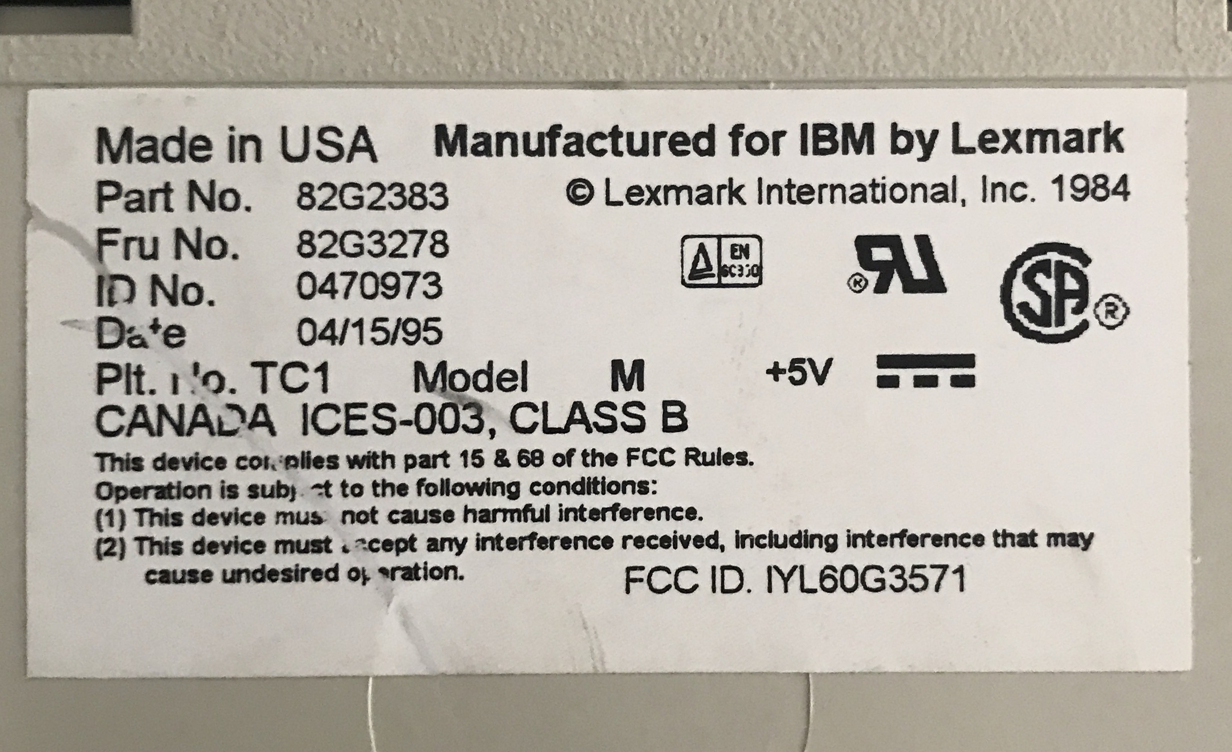 My IBM Model M was born in 95